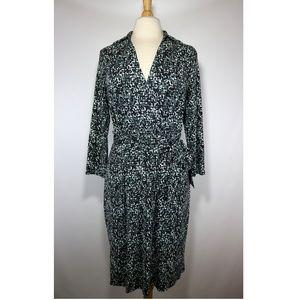 Ann Taylor Spotted Faux Wrap Jersey Dress